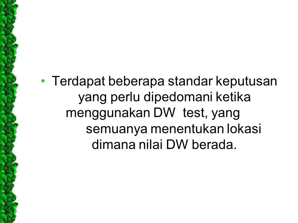 Terdapat beberapa standar keputusan yang perlu dipedomani ketika menggunakan DW test, yang semuanya menentukan lokasi dimana nilai DW berada.
