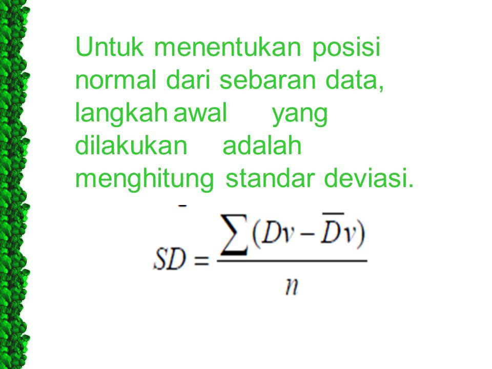 Untuk menentukan posisi normal dari sebaran data, langkah. awal