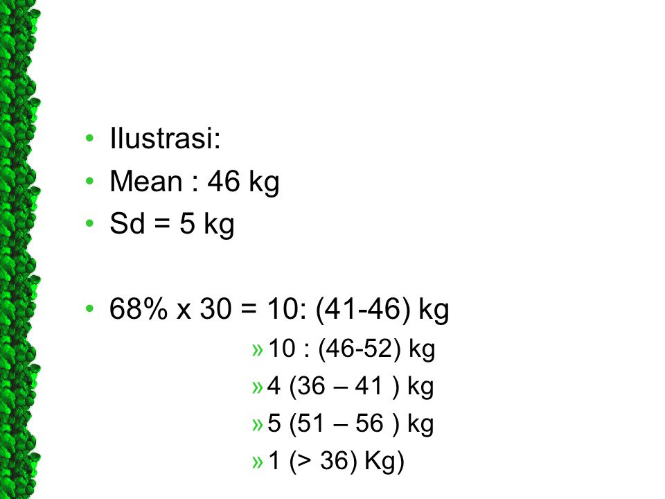 Ilustrasi: Mean : 46 kg Sd = 5 kg 68% x 30 = 10: (41-46) kg
