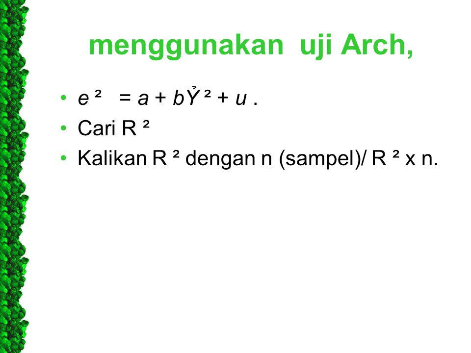 menggunakan uji Arch, e ² = a + bỶ ² + u . Cari R ²