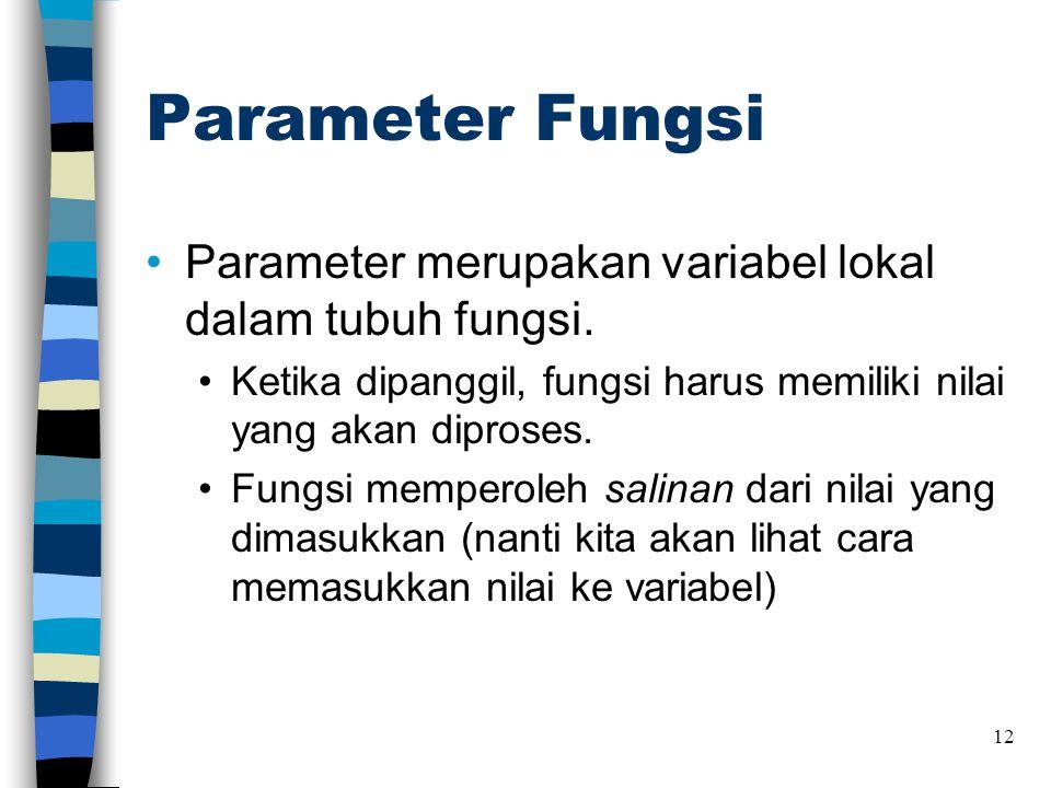 Parameter Fungsi Parameter merupakan variabel lokal dalam tubuh fungsi. Ketika dipanggil, fungsi harus memiliki nilai yang akan diproses.