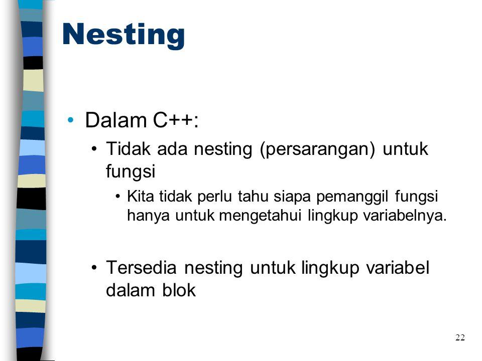 Nesting Dalam C++: Tidak ada nesting (persarangan) untuk fungsi