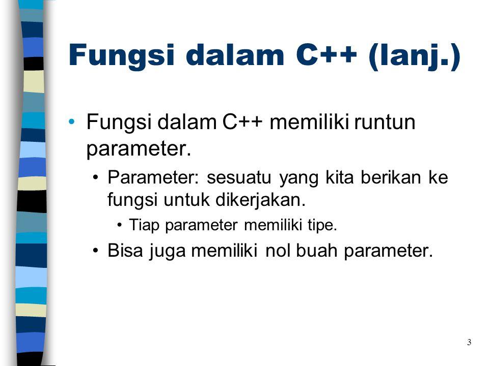 Fungsi dalam C++ (lanj.)