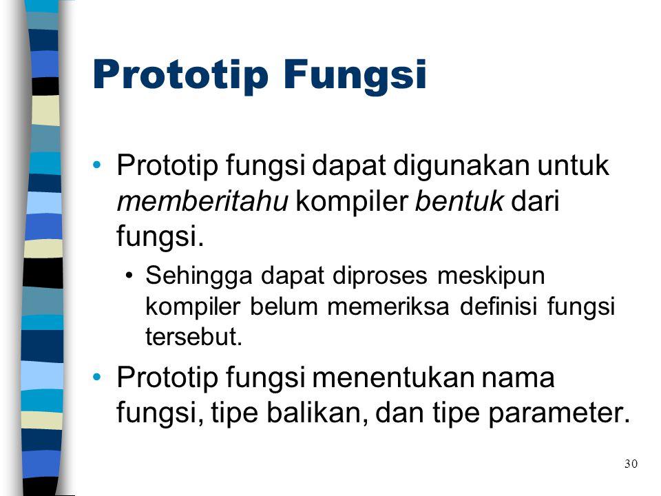 Prototip Fungsi Prototip fungsi dapat digunakan untuk memberitahu kompiler bentuk dari fungsi.