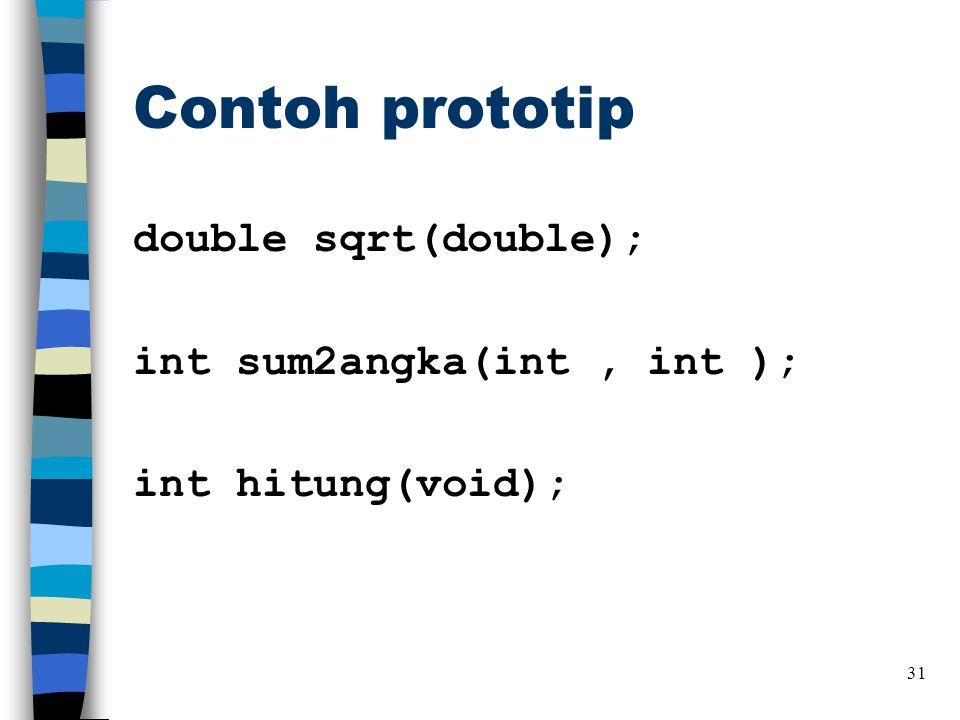 Contoh prototip double sqrt(double); int sum2angka(int , int ); int hitung(void);