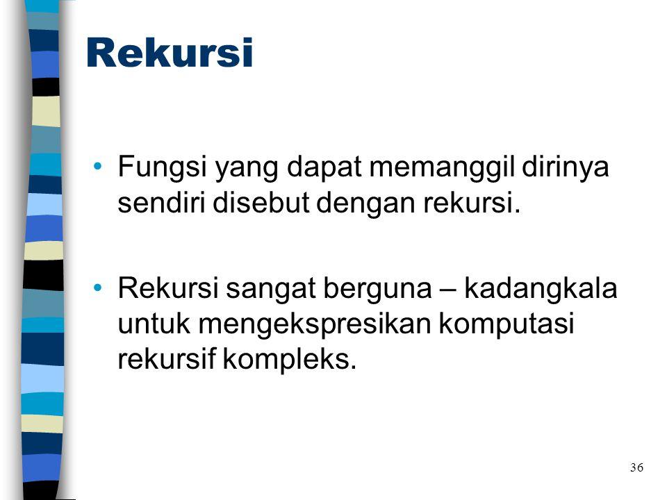 Rekursi Fungsi yang dapat memanggil dirinya sendiri disebut dengan rekursi.