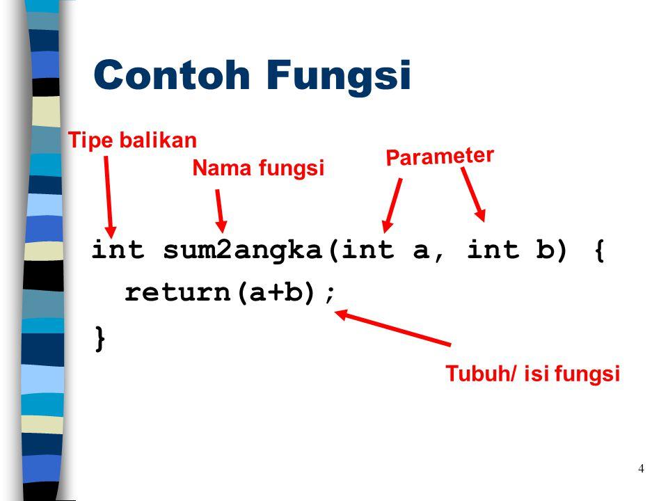 Contoh Fungsi } int sum2angka(int a, int b) { return(a+b);