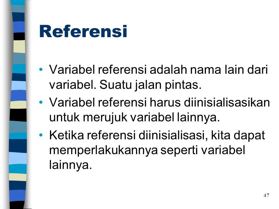 Referensi Variabel referensi adalah nama lain dari variabel. Suatu jalan pintas.