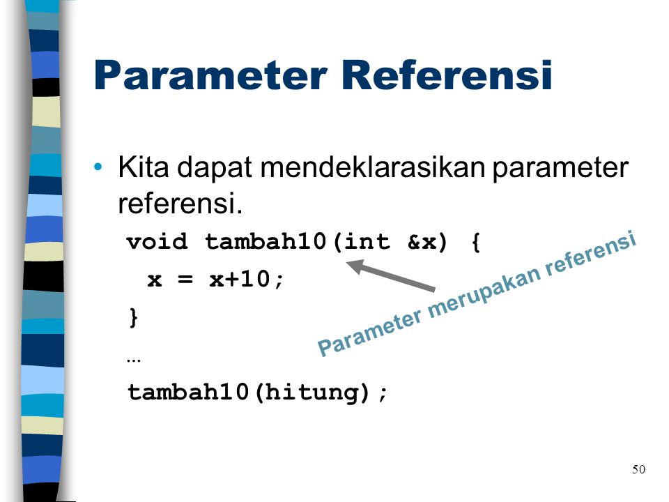 Parameter Referensi Kita dapat mendeklarasikan parameter referensi.