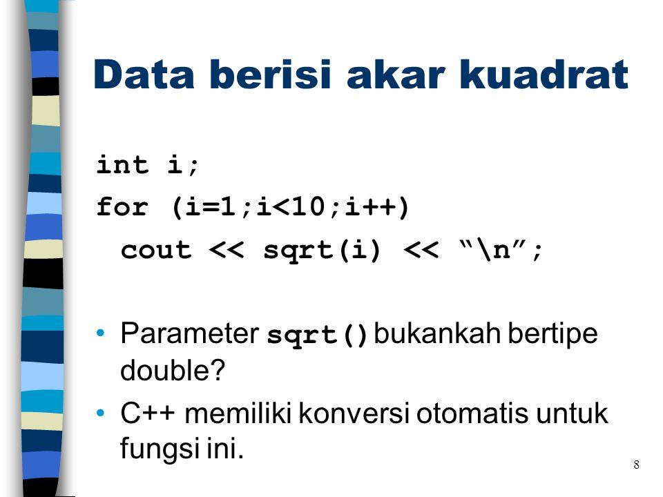 Data berisi akar kuadrat