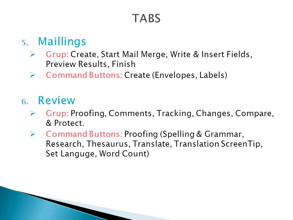 TABS Maillings. Grup: Create, Start Mail Merge, Write & Insert Fields, Preview Results, Finish. Command Buttons: Create (Envelopes, Labels)