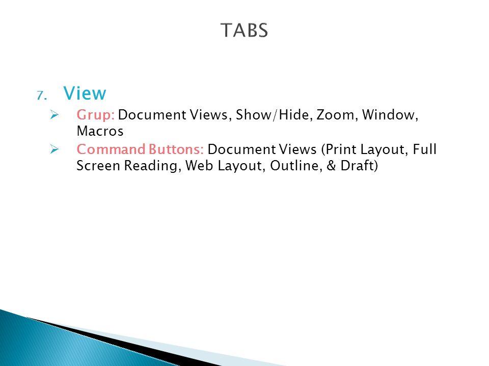 TABS View Grup: Document Views, Show/Hide, Zoom, Window, Macros