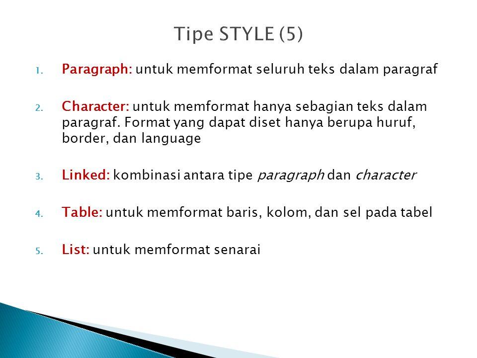 Tipe STYLE (5) Paragraph: untuk memformat seluruh teks dalam paragraf