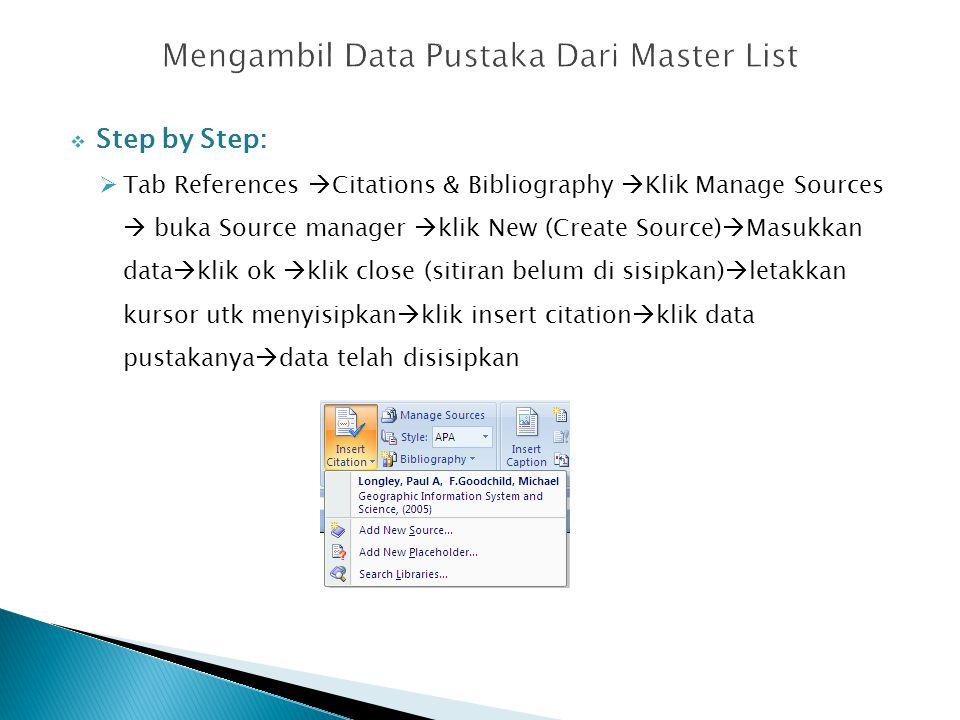 Mengambil Data Pustaka Dari Master List