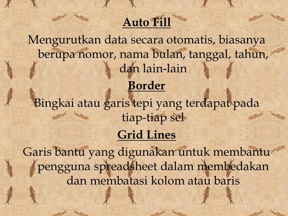 Auto Fill Mengurutkan data secara otomatis, biasanya berupa nomor, nama bulan, tanggal, tahun, dan lain-lain Border Bingkai atau garis tepi yang terdapat pada tiap-tiap sel Grid Lines Garis bantu yang digunakan untuk membantu pengguna spreadsheet dalam membedakan dan membatasi kolom atau baris
