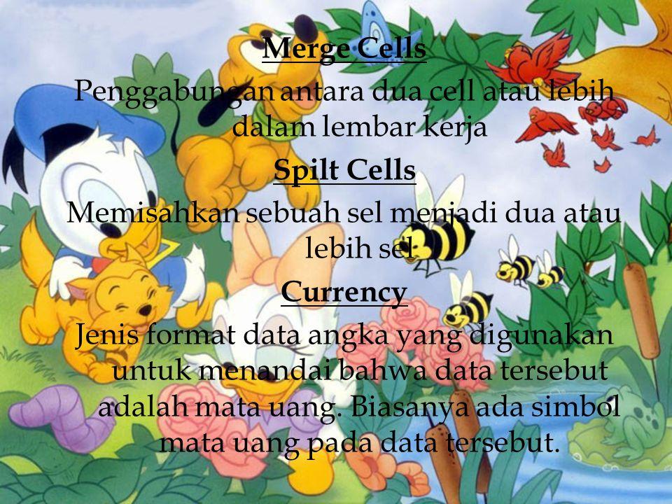 Merge Cells Penggabungan antara dua cell atau lebih dalam lembar kerja Spilt Cells Memisahkan sebuah sel menjadi dua atau lebih sel Currency Jenis format data angka yang digunakan untuk menandai bahwa data tersebut adalah mata uang.