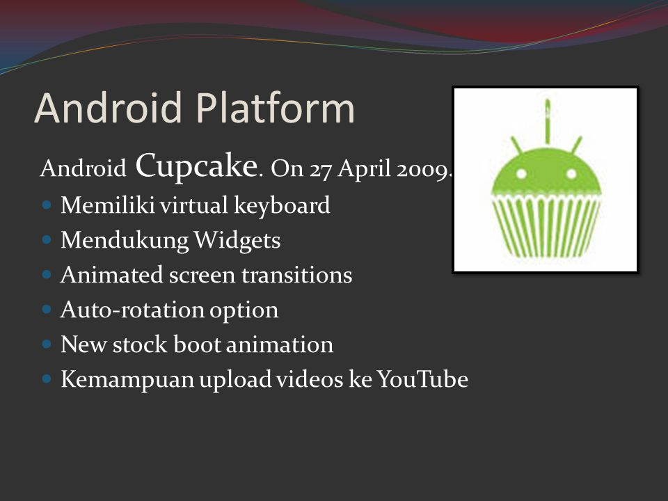 Android Platform Android Cupcake. On 27 April 2009.