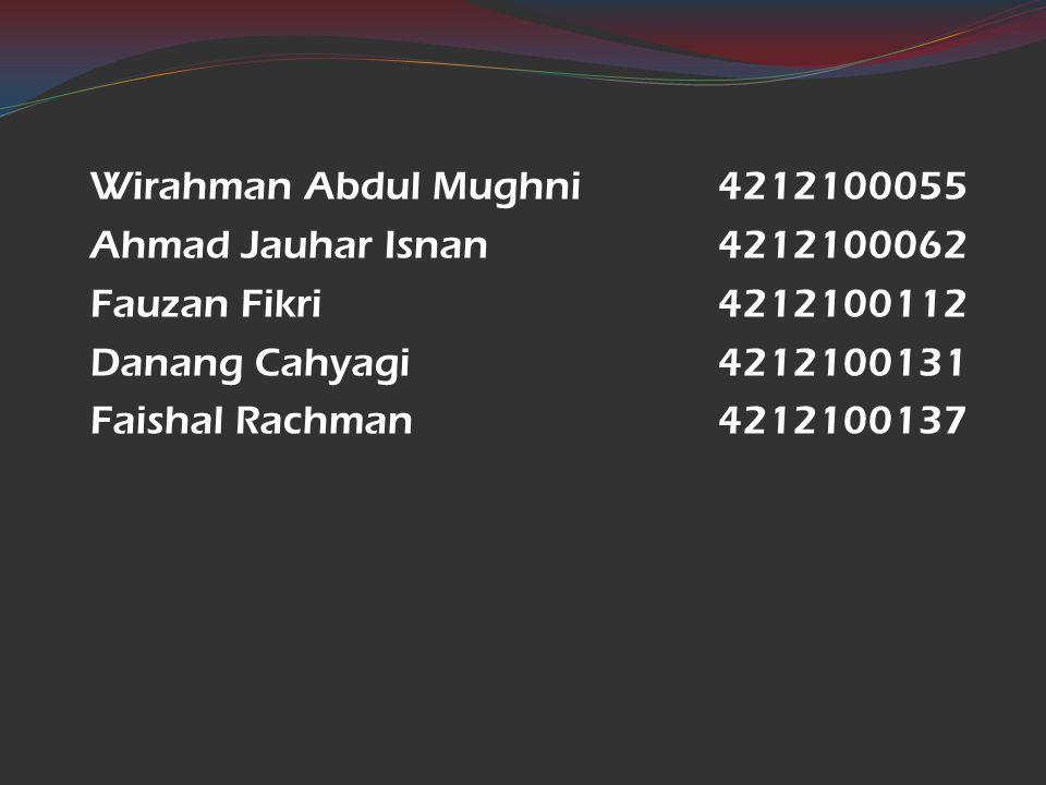 Wirahman Abdul Mughni 4212100055 Ahmad Jauhar Isnan 4212100062. Fauzan Fikri 4212100112. Danang Cahyagi 4212100131.