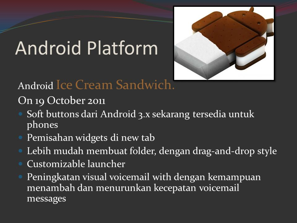 Android Platform On 19 October 2011 Android Ice Cream Sandwich.