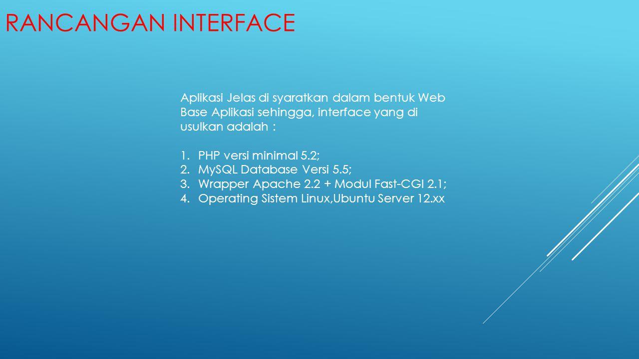 Rancangan Interface Aplikasi Jelas di syaratkan dalam bentuk Web Base Aplikasi sehingga, interface yang di usulkan adalah :