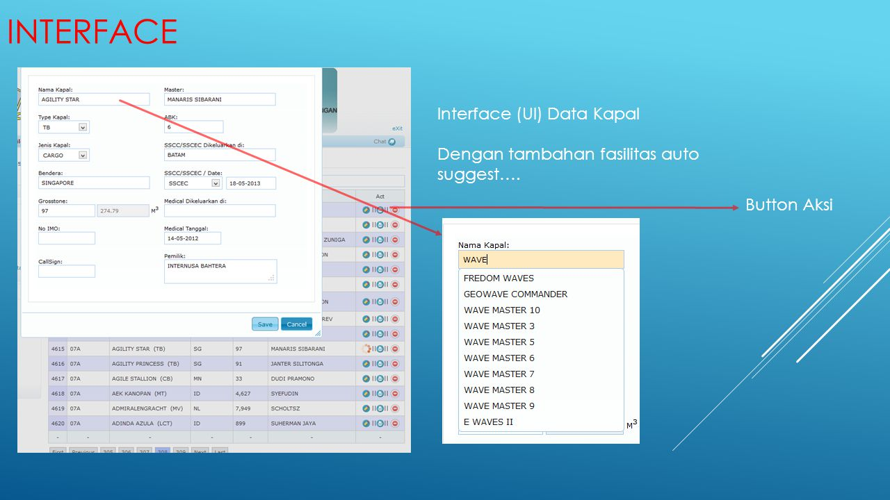 Interface Interface (UI) Data Kapal
