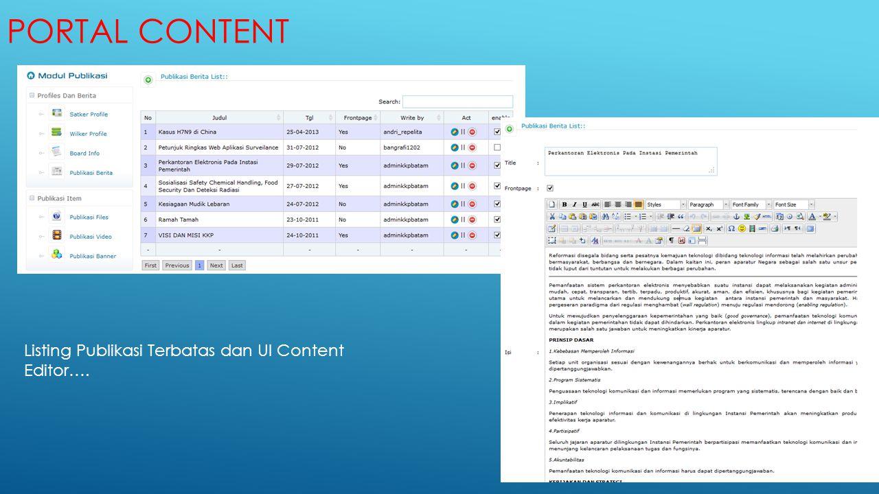 Portal Content Listing Publikasi Terbatas dan UI Content Editor….