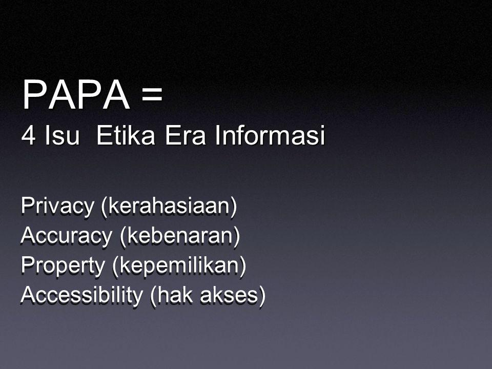 PAPA = 4 Isu Etika Era Informasi