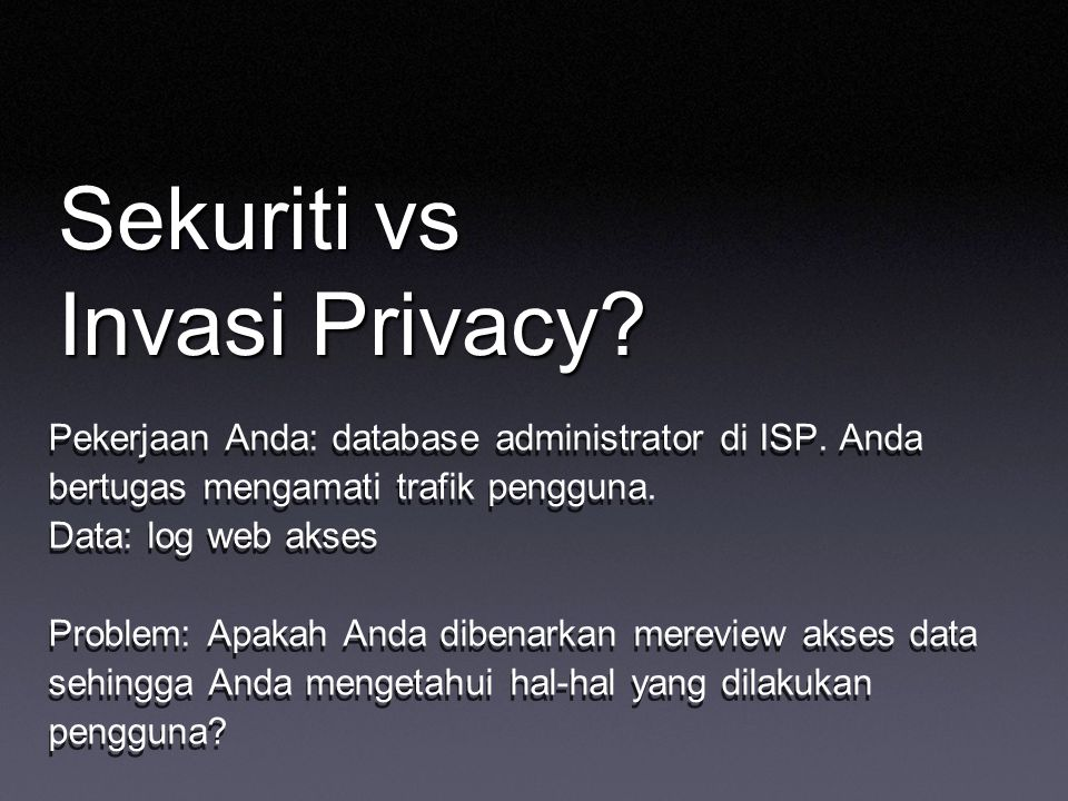 Sekuriti vs Invasi Privacy