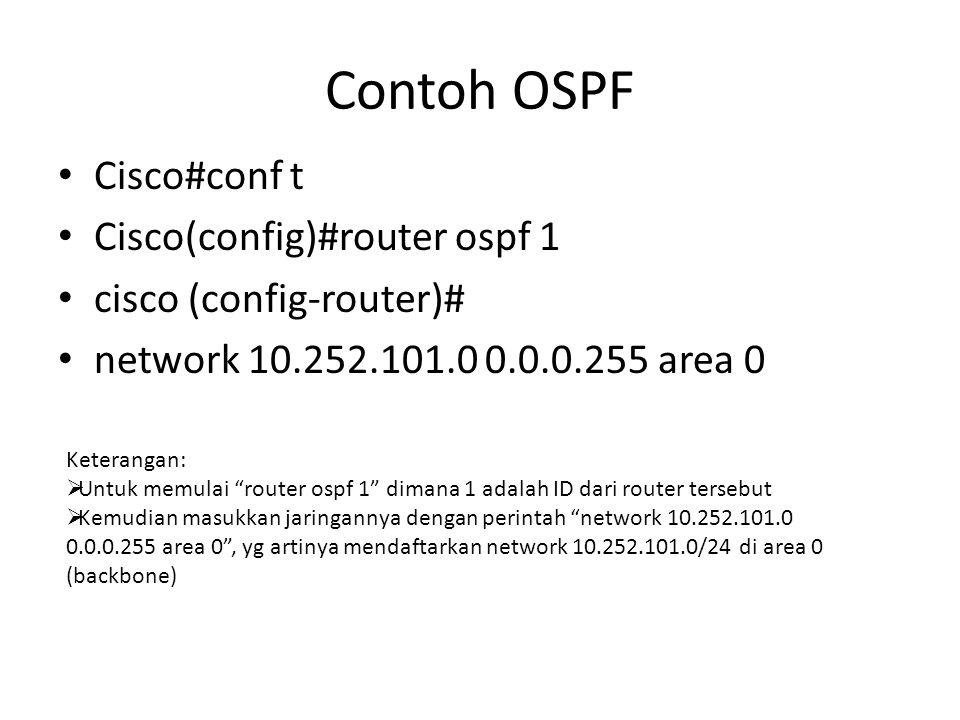 Contoh OSPF Cisco#conf t Cisco(config)#router ospf 1