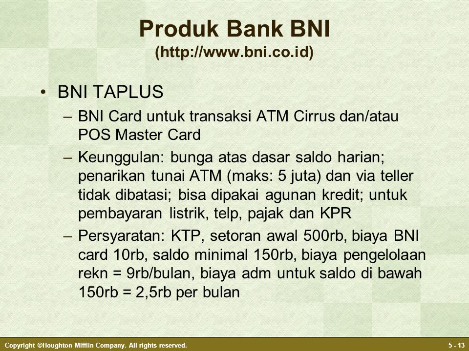 Produk Bank BNI (http://www.bni.co.id)