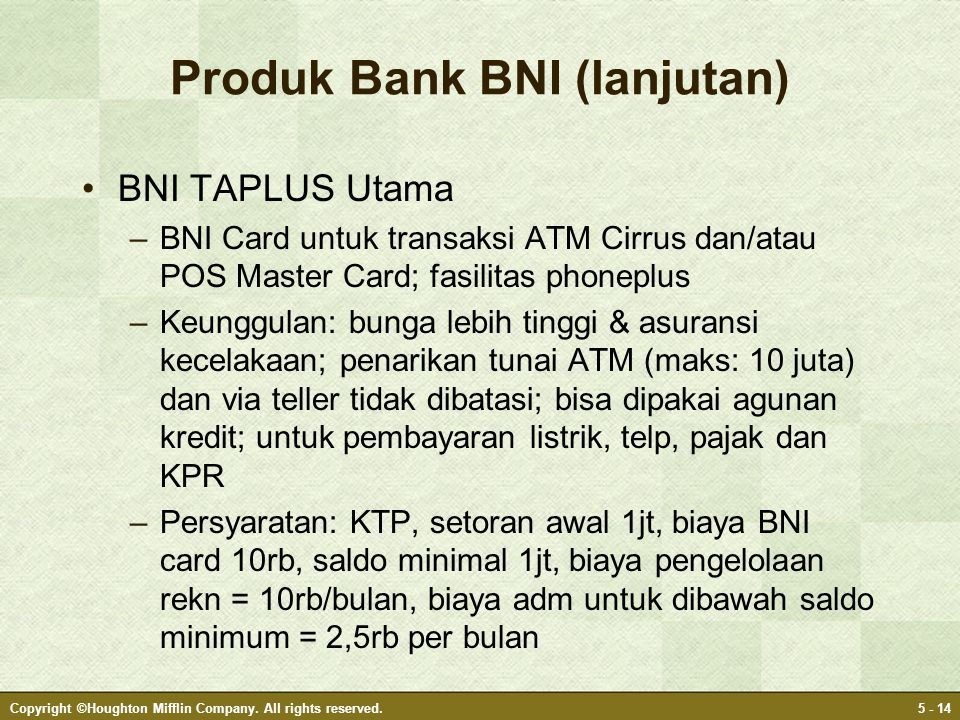 Produk Bank BNI (lanjutan)