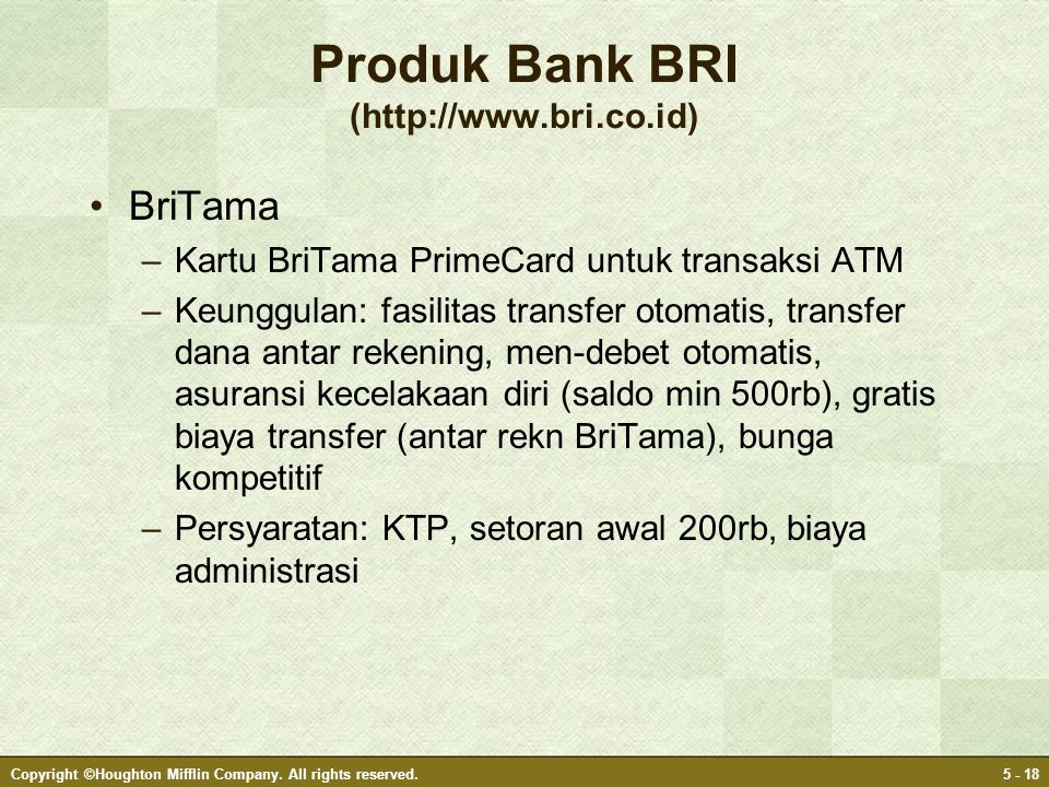 Produk Bank BRI (http://www.bri.co.id)