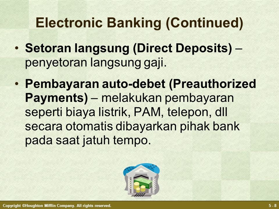 Electronic Banking (Continued)