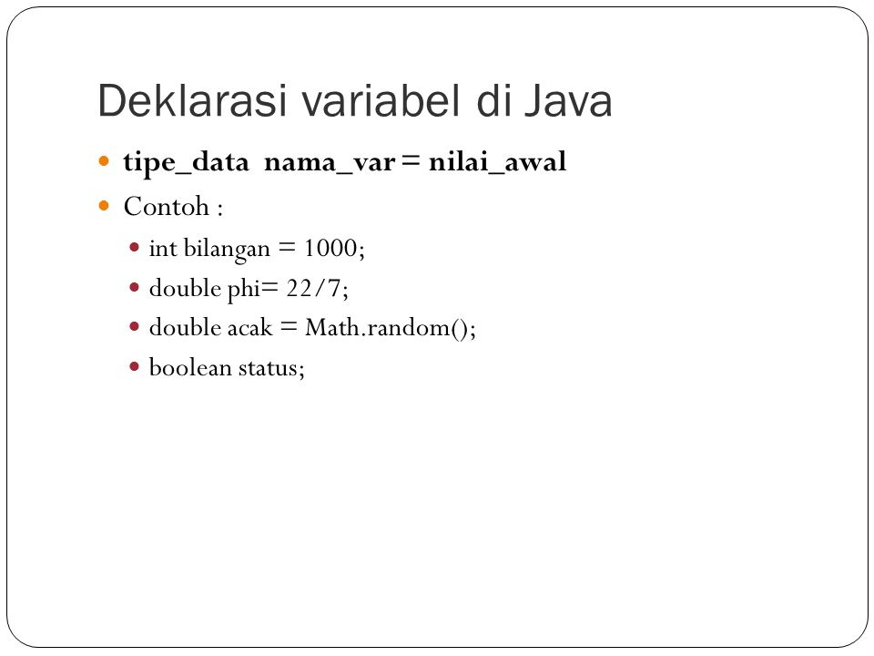 Deklarasi variabel di Java