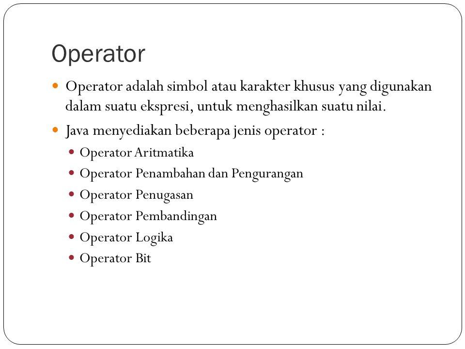 Operator Operator adalah simbol atau karakter khusus yang digunakan dalam suatu ekspresi, untuk menghasilkan suatu nilai.