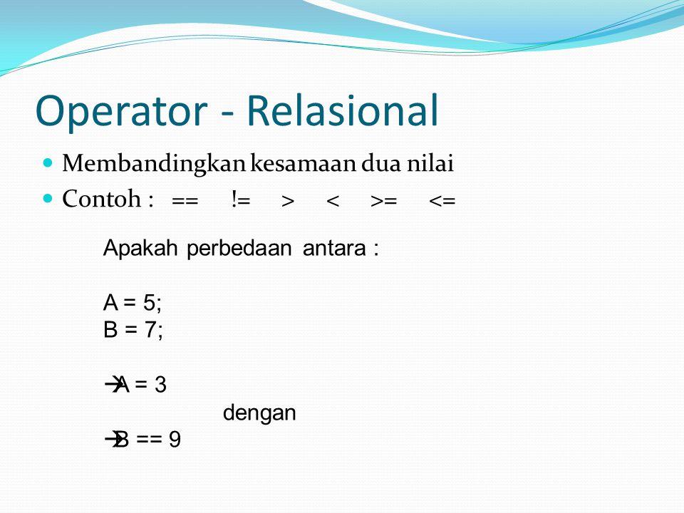 Operator - Relasional Membandingkan kesamaan dua nilai