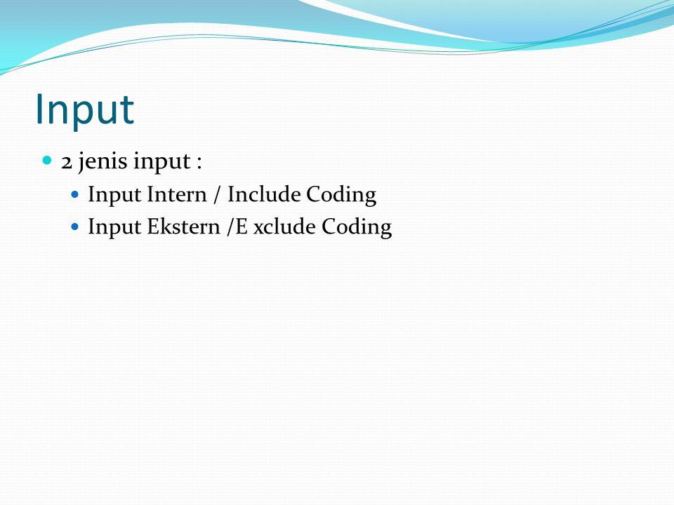 Input 2 jenis input : Input Intern / Include Coding