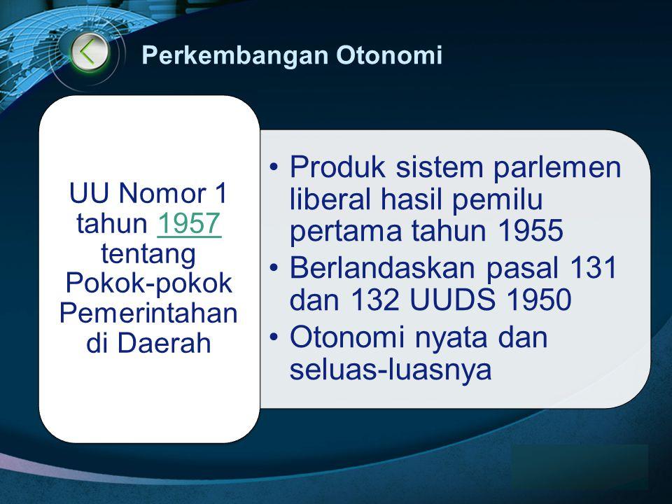 UU Nomor 1 tahun 1957 tentang Pokok-pokok Pemerintahan di Daerah