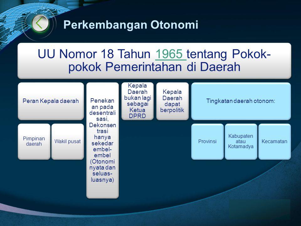 Perkembangan Otonomi Peran Kepala daerah