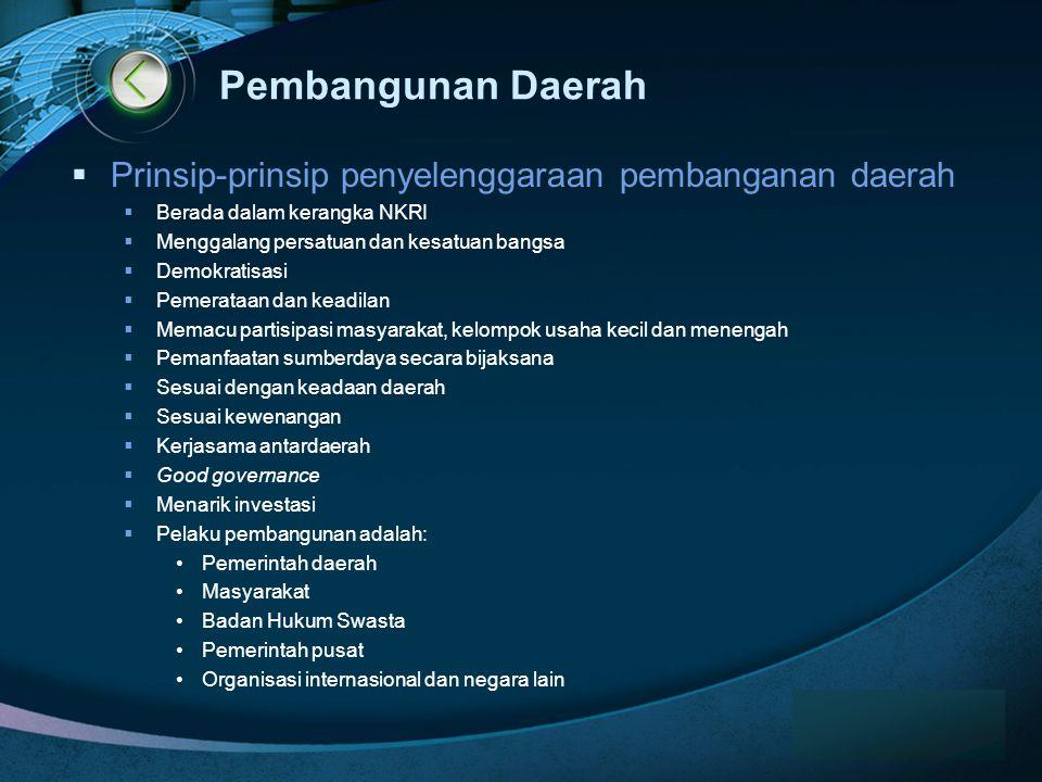 Pembangunan Daerah Prinsip-prinsip penyelenggaraan pembanganan daerah