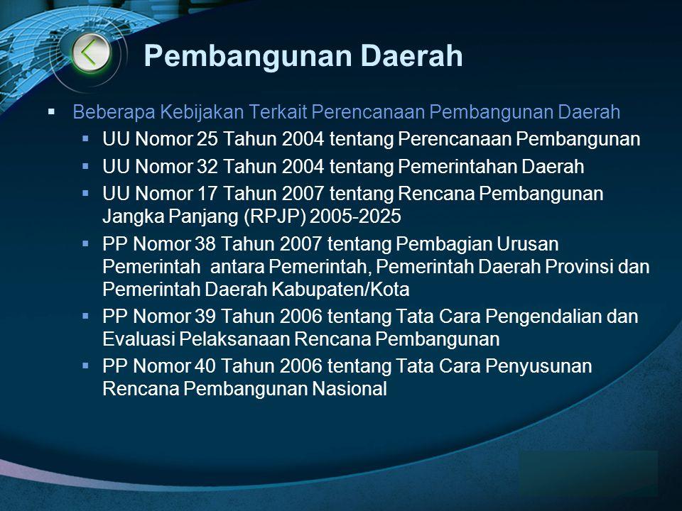 Pembangunan Daerah Beberapa Kebijakan Terkait Perencanaan Pembangunan Daerah. UU Nomor 25 Tahun 2004 tentang Perencanaan Pembangunan.