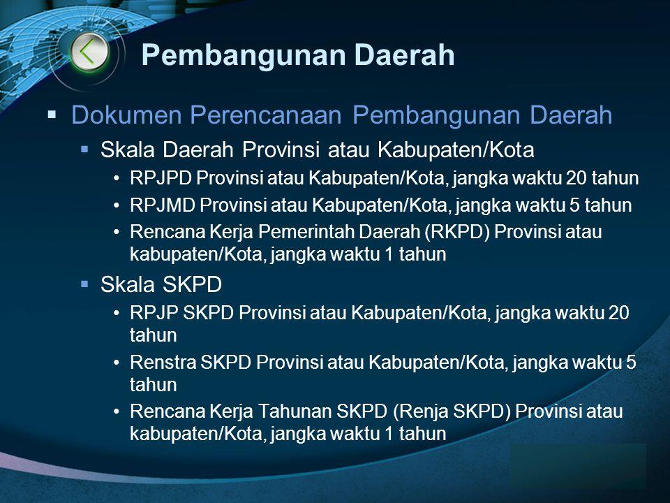 Pembangunan Daerah Dokumen Perencanaan Pembangunan Daerah