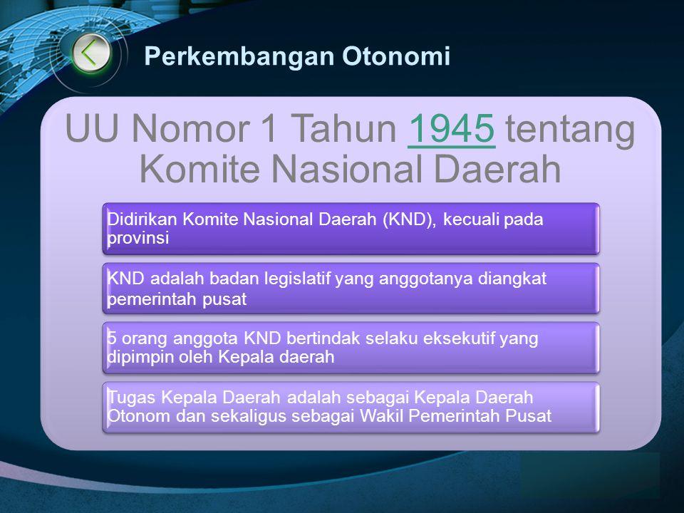 UU Nomor 1 Tahun 1945 tentang Komite Nasional Daerah