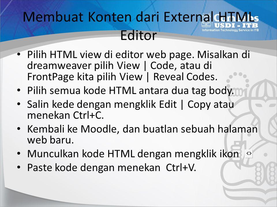 Membuat Konten dari External HTML Editor
