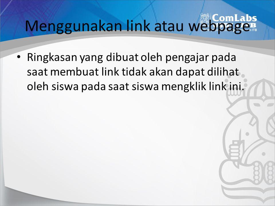 Menggunakan link atau webpage