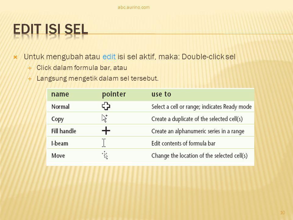 abc.aurino.com Edit Isi Sel. Untuk mengubah atau edit isi sel aktif, maka: Double-click sel. Click dalam formula bar, atau.