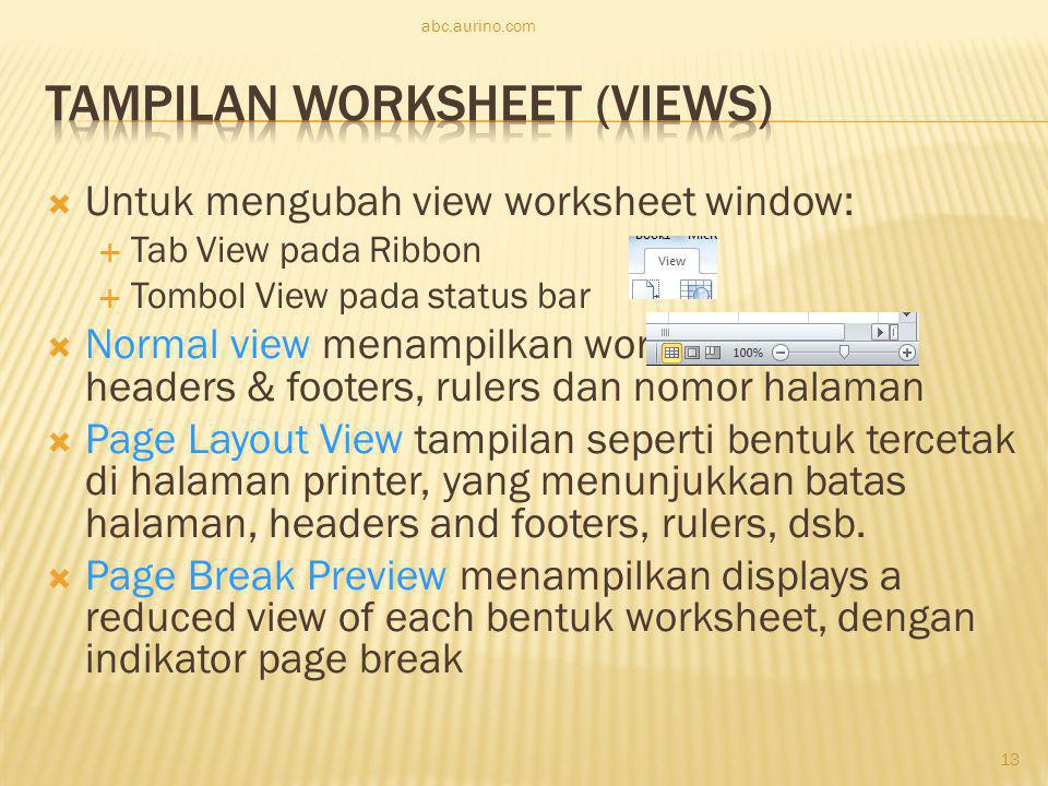 Tampilan Worksheet (Views)