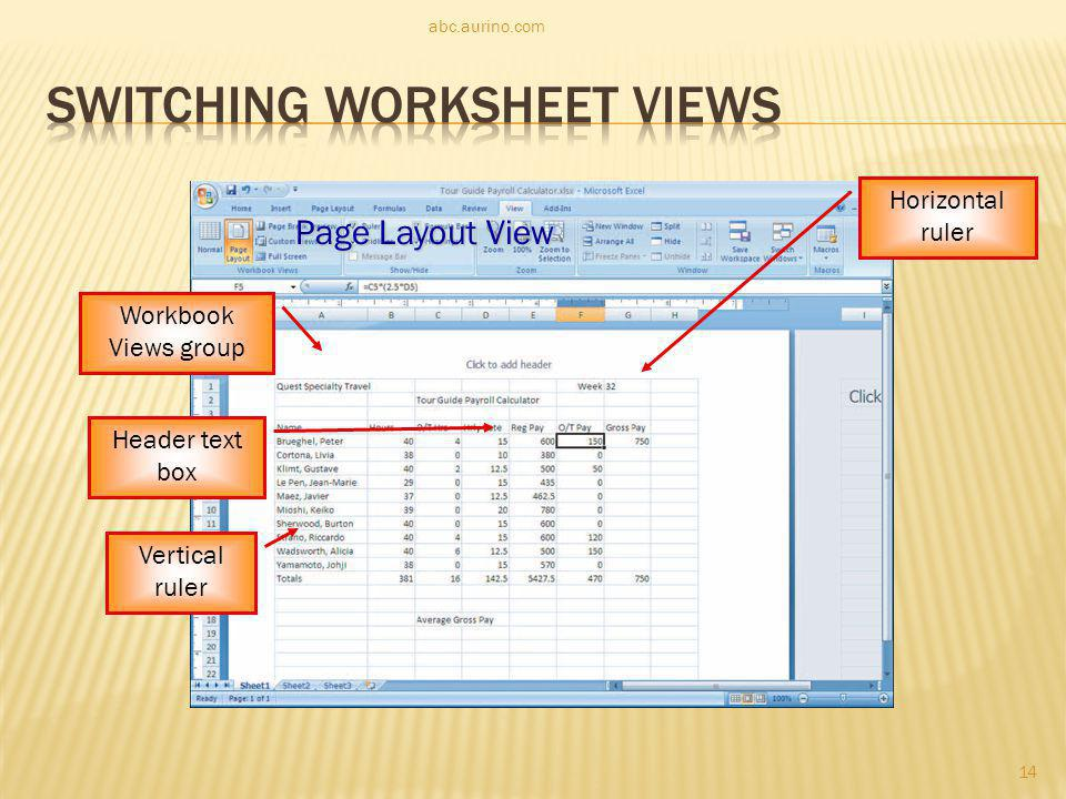 Switching Worksheet Views