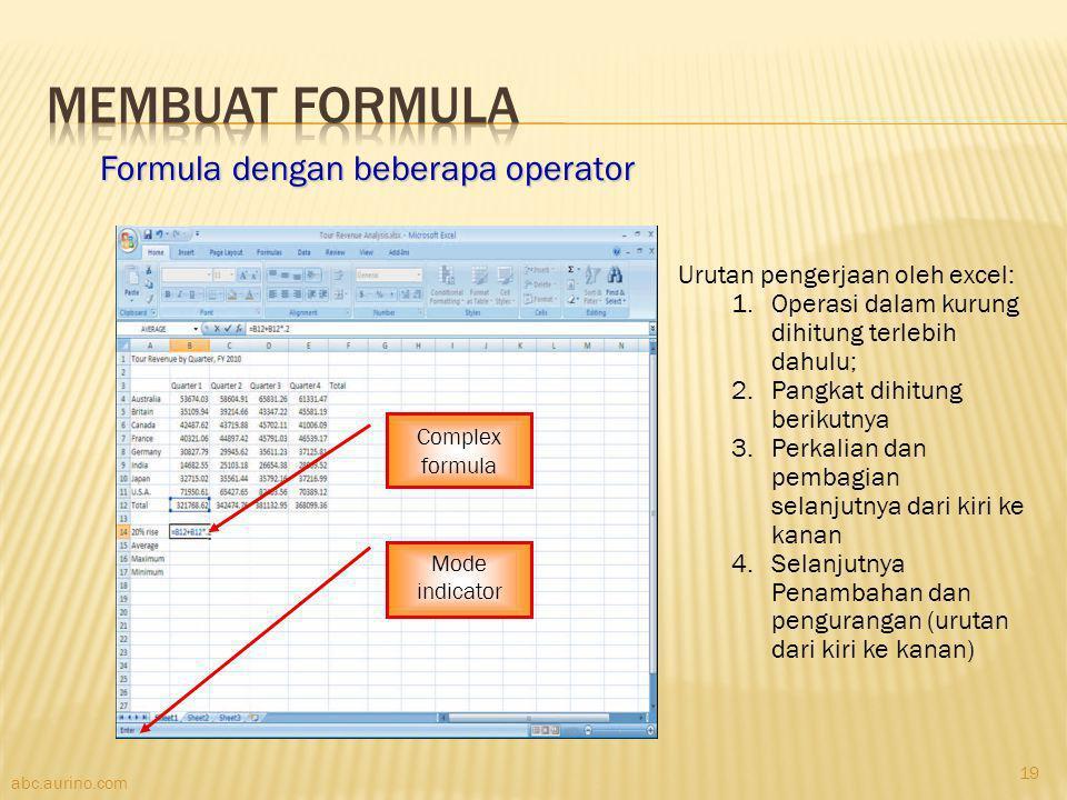 Membuat Formula Formula dengan beberapa operator
