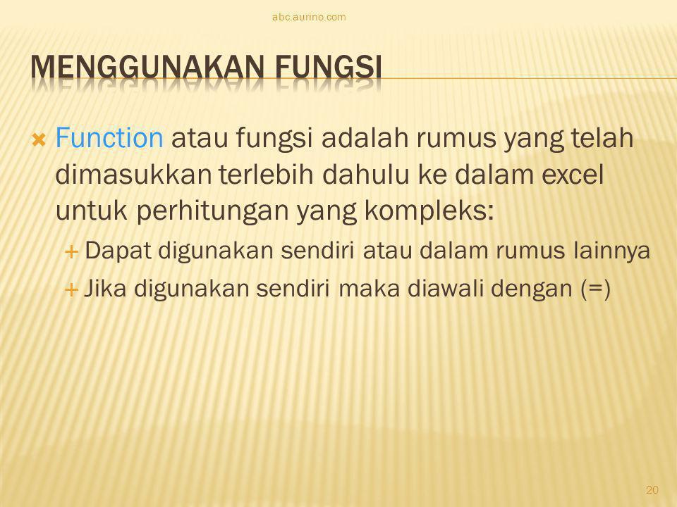 abc.aurino.com Menggunakan Fungsi.